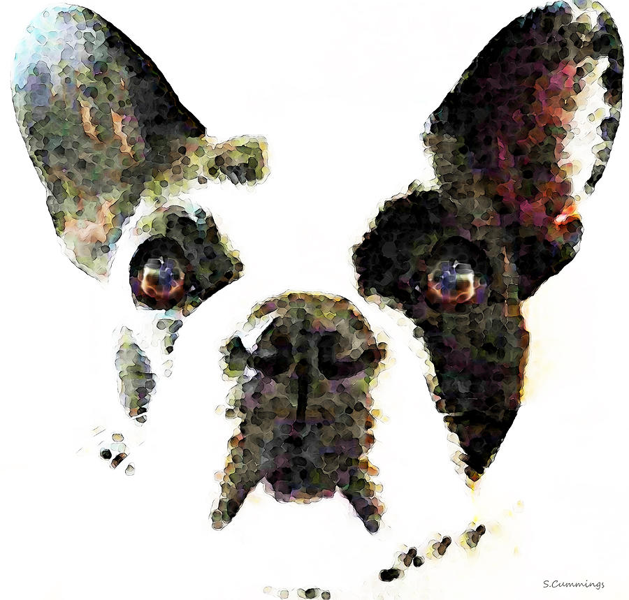 French Bulldog Art High Contrast Painting By Sharon Cummings