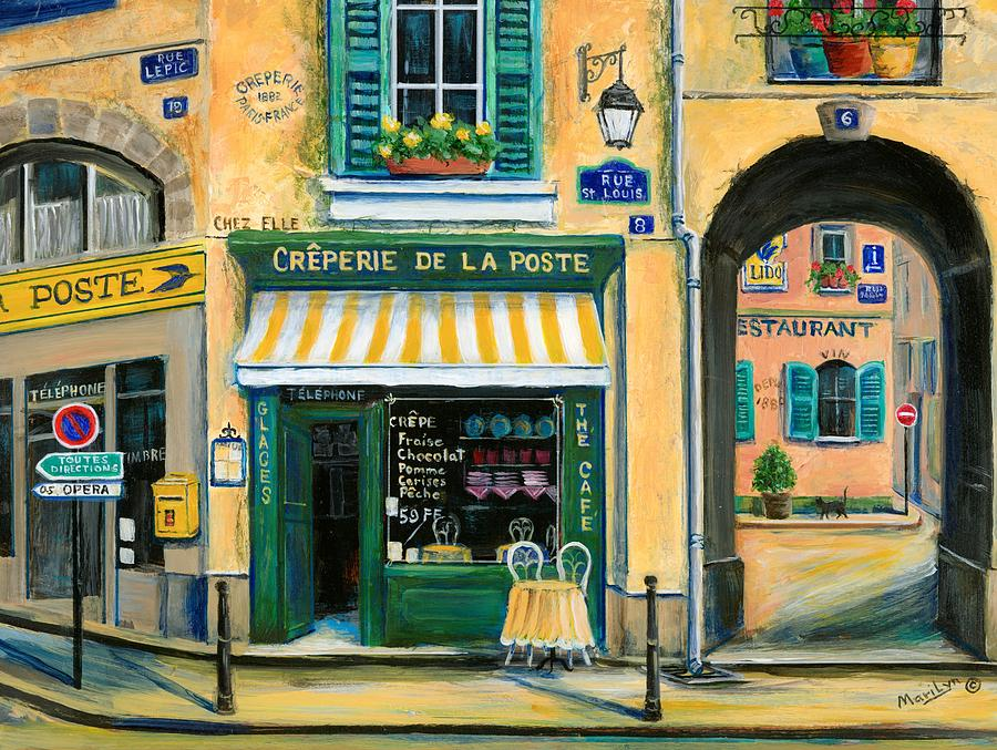 Paris Painting - French Creperie by Marilyn Dunlap