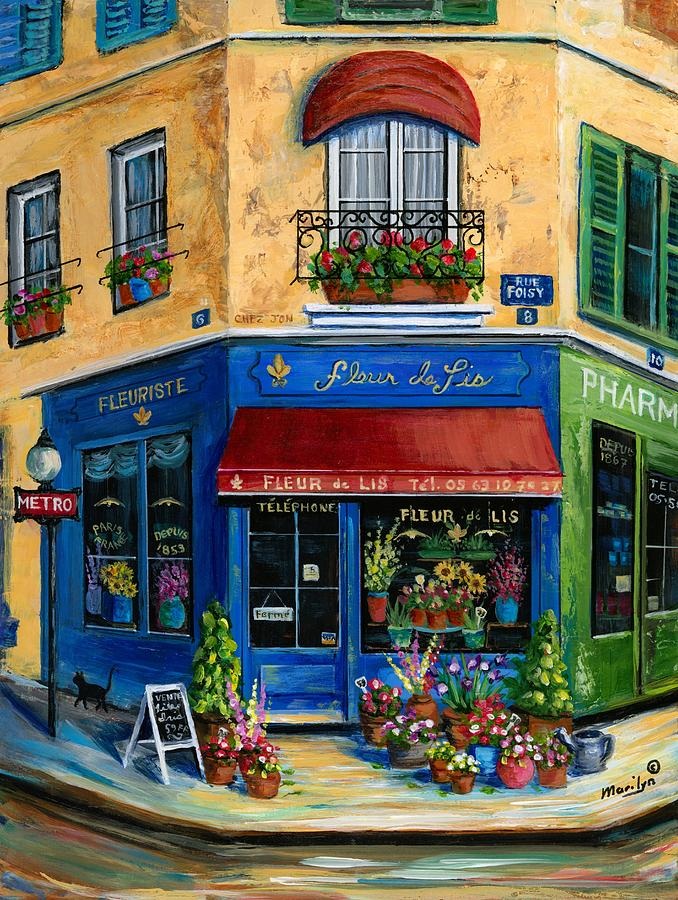 French Flower Shop Painting By Marilyn Dunlap