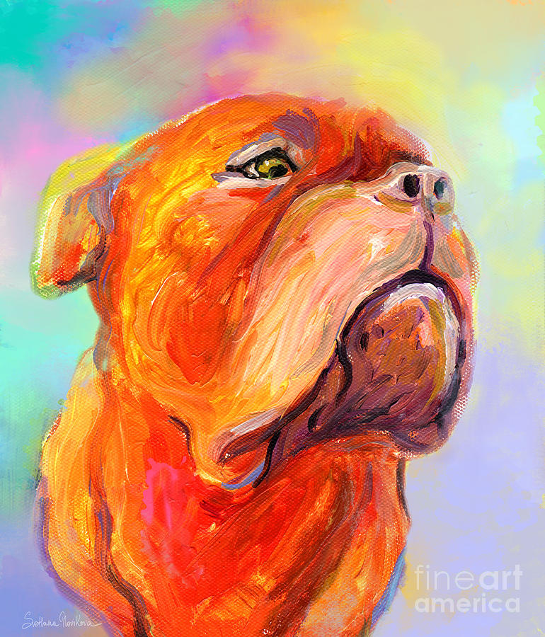 French mastiff bordeaux dog painting print painting by for Dog painting artist