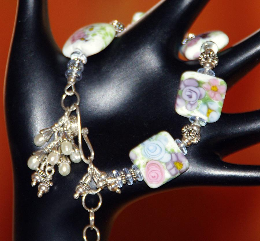 Sterling Silver Jewelry - Freshwater Pearls Lampwork In Sterling Silver Bracelet by Nadina Giurgiu