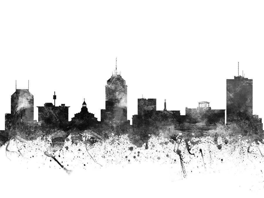 Fresno California Cityscape 02bw Drawing By Aged Pixel