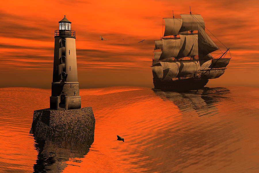 Bryce 3d Scifi Fantasy Windjammer sailing Ship Sailing Digital Art - Friendly Beacon by Claude McCoy