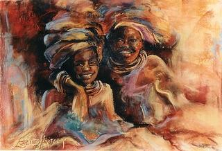 Africa Pastel - Friends by Estelle Hartley
