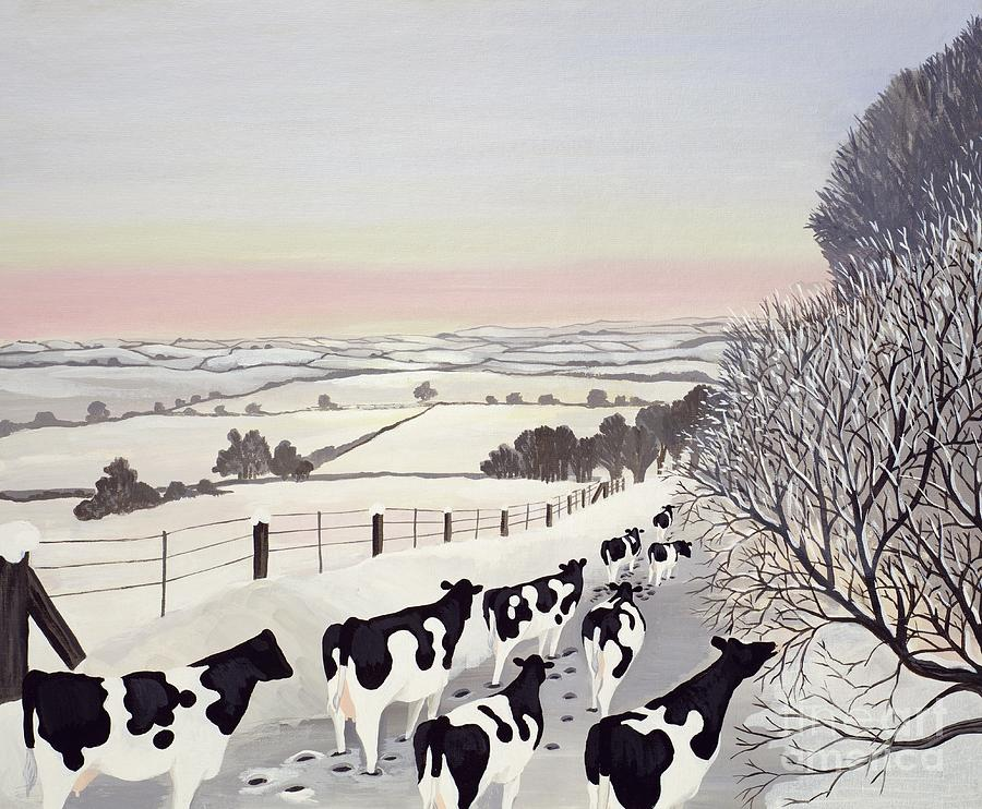 Fence; Cow; Cows; Landscape; Winter; Snow; Tree; Trees; Friesians; Animal; Farm Animal Painting - Friesians In Winter by Maggie Rowe