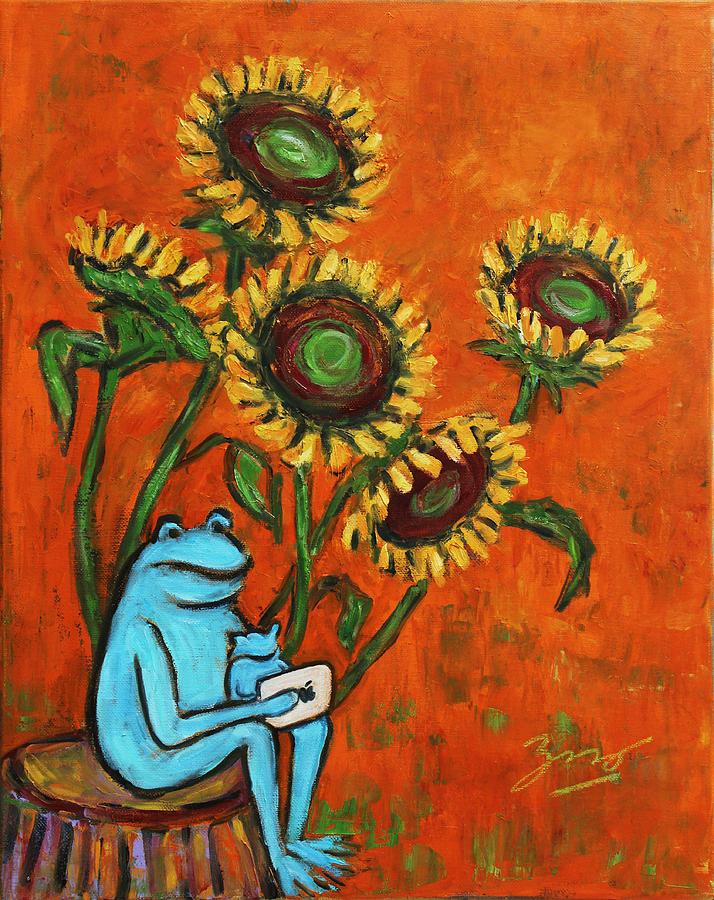 Still Life Painting - Frog I Padding Amongst Sunflowers by Xueling Zou