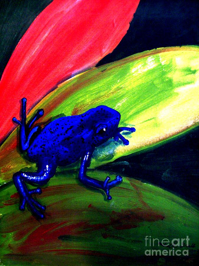 Leaf Painting - Frog On Leaf by Mike Grubb