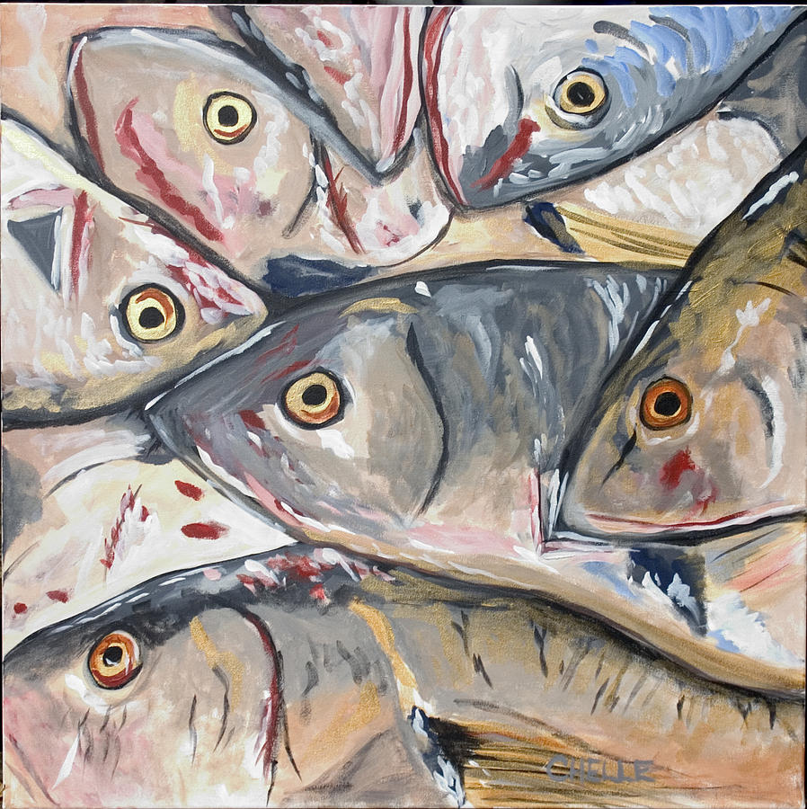 Fish Painting - From The Market by Chelle Fazal