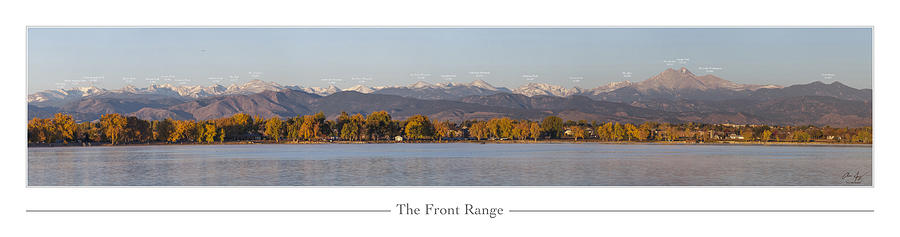Front Photograph - Front Range With Peak Labels by Aaron Spong