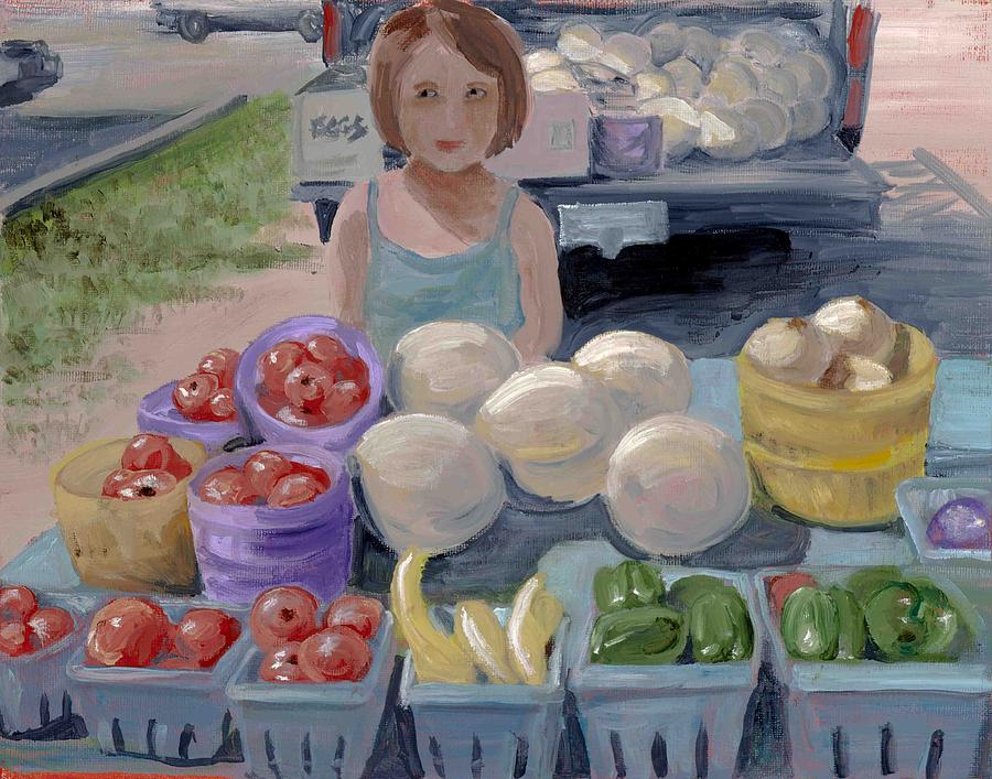 Fruit Painting - Fruit Stand Girl by Cathy France
