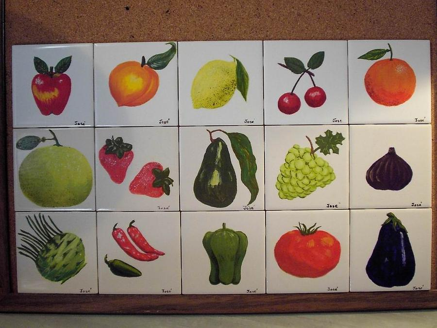 Ceramic Tile Ceramic Art - Fruits And Vegetables by Hilda and Jose Garrancho