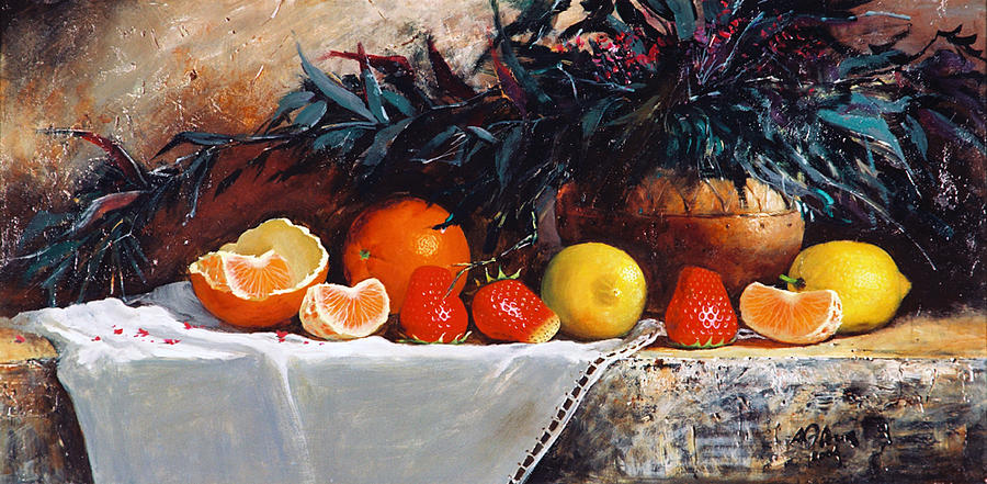 Fruits With Bush Painting - Fruits With Bush by Alim Adilov