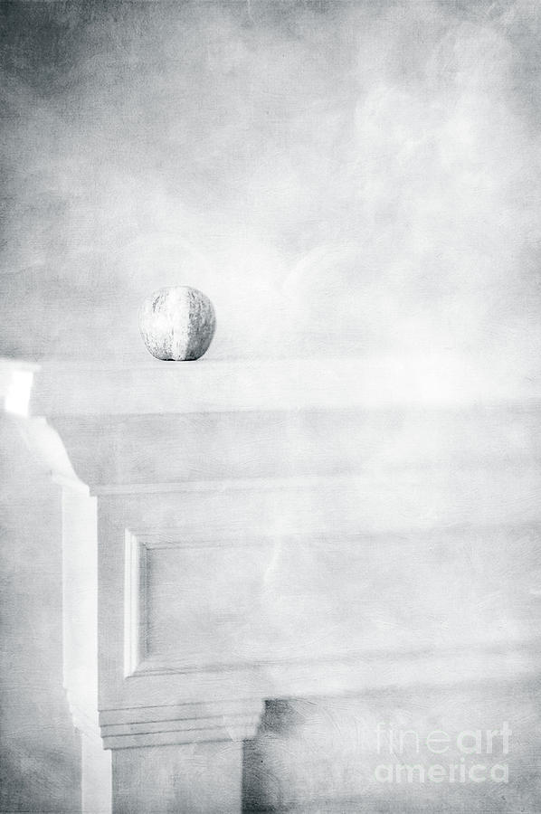 Fuji Apple On White Fireplace Mantel In Black And White Photograph