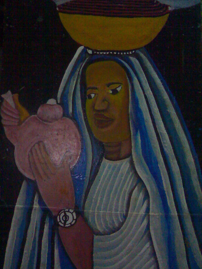 Landscape Painting - Fulani Woman With Cow Milk On Her Head by Ngwanyam Adolf Loraterr