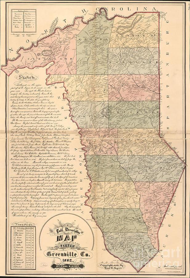 Full Descriptive Map Of Greenville 1882 Photograph