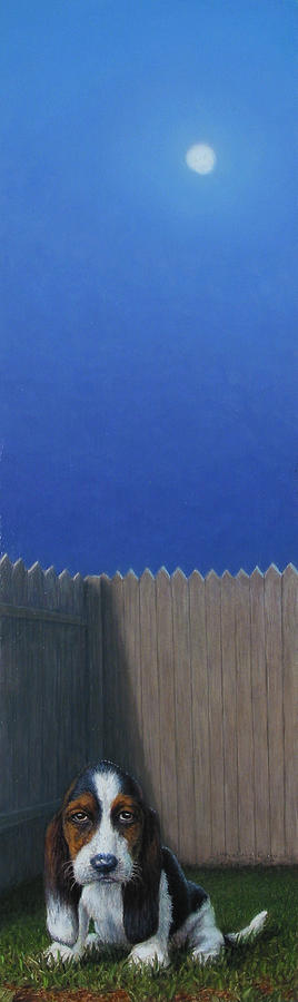 Puppy Painting - Full Moon by James W Johnson