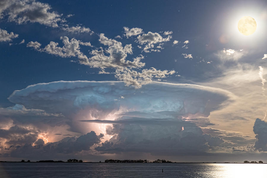 Full Moon Lake Storm Photograph