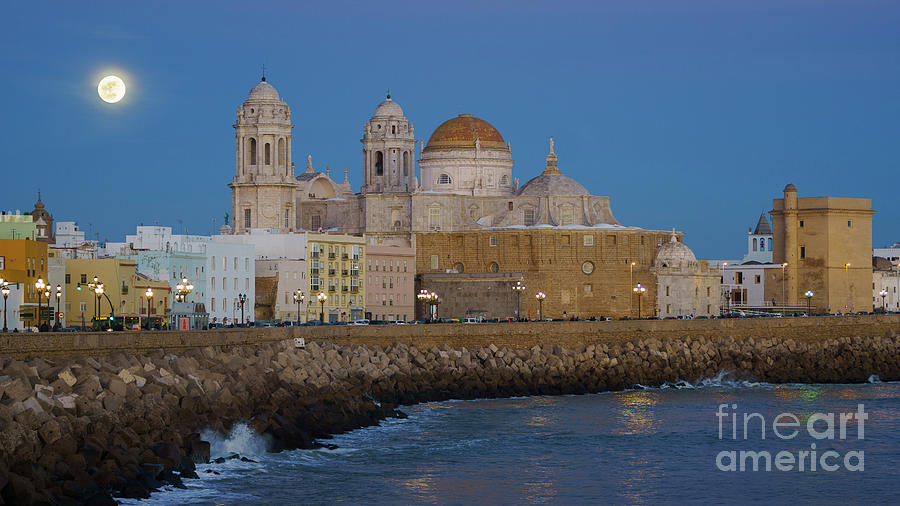 Full Moonrise Over The Cathedral Cadiz Spain Photograph