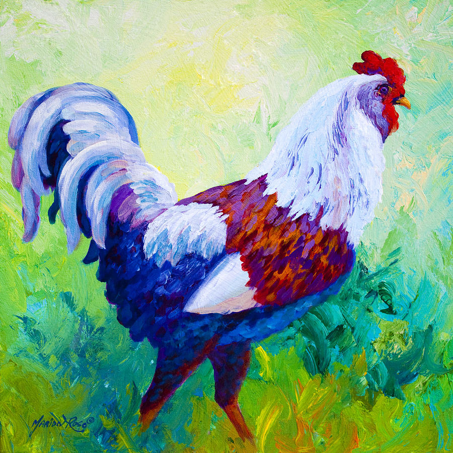 Rooster Painting - Full Of Himself - Rooster by Marion Rose