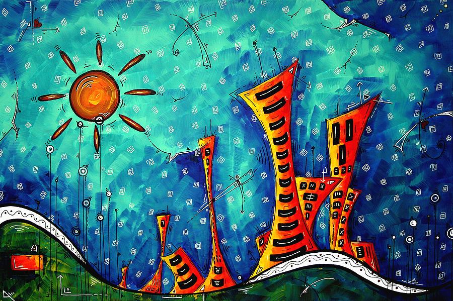 Art Painting - Funky Town Original Madart Painting by Megan Duncanson