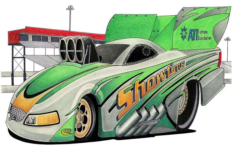 Automobile Mixed Media - Funny Car Toon by Lyle Brown