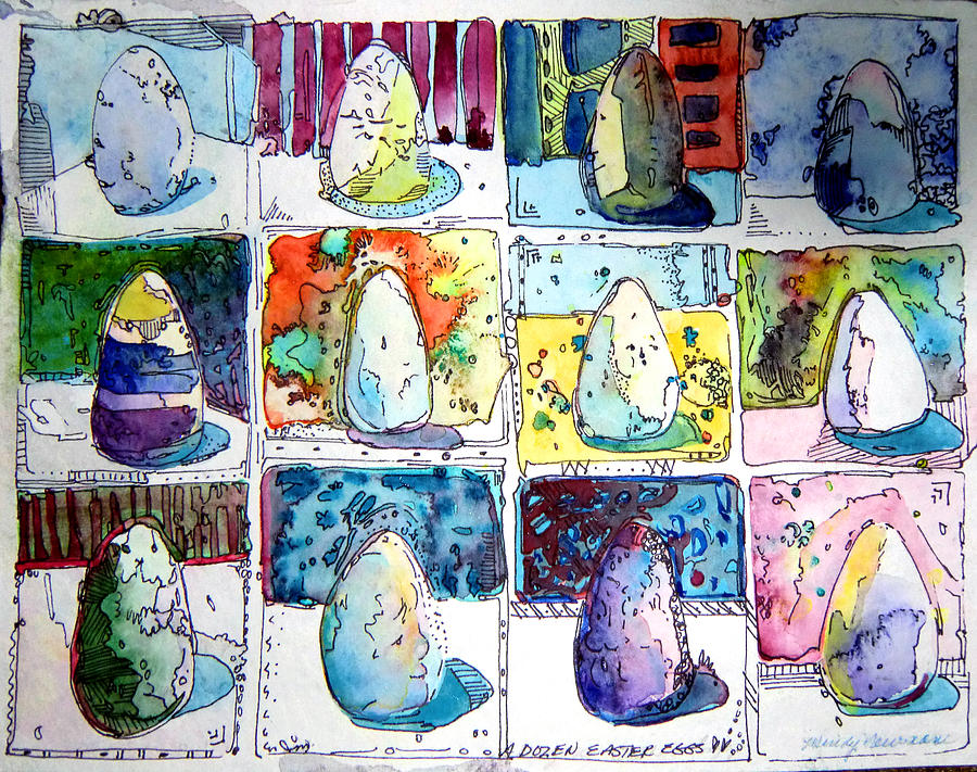 Eggs Painting - Funny Eggs by Mindy Newman