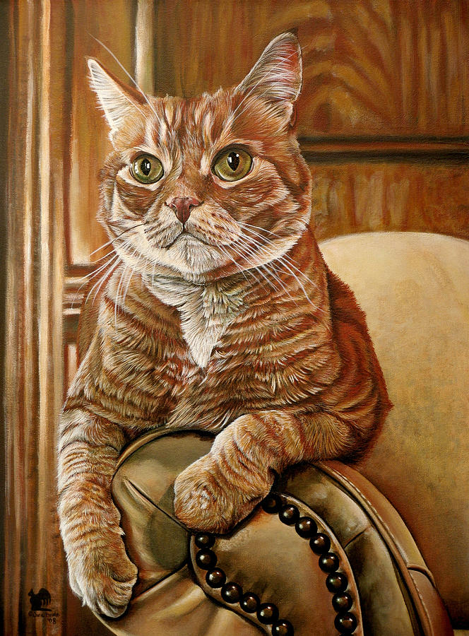 Cat Painting - Furby by Cara Bevan