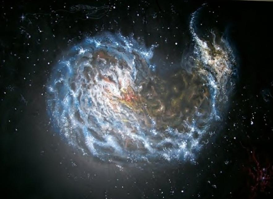Astronomy Painting - Galaxies Merging. by Giovanni Santostasi