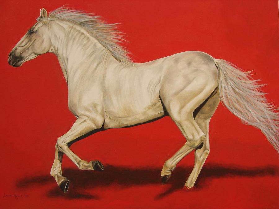 Galloping white horse - photo#12