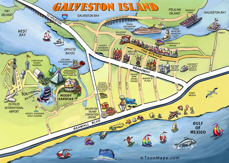 Galveston Texas Cartoon Map Digital Art By Kevin Middleton