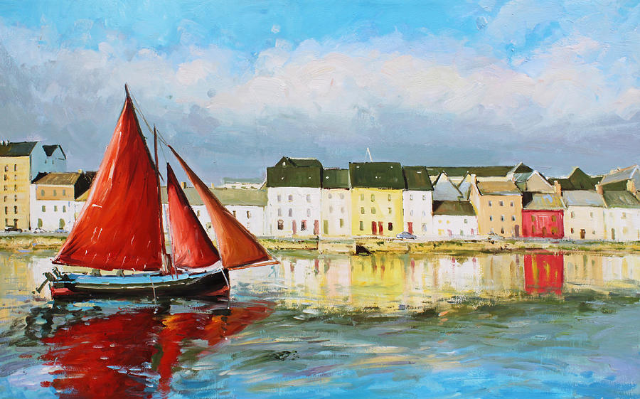Galway Hooker Painting - Galway Hooker Leaving Port by Conor McGuire