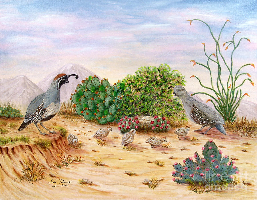 Southwest Art Painting - Gambel Quails Day In The Life by Judy Filarecki
