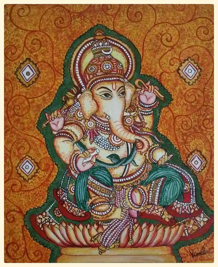 Ganesh kerala mural painting by vimala jajoo for Mural art of ganesha