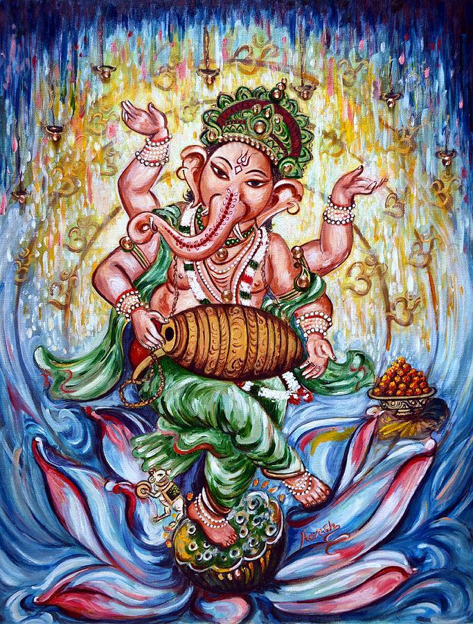 Ganesha Dancing And Playing Mridang Painting by Harsh Malik