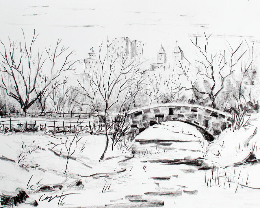 Gapstow With Snow Drawing