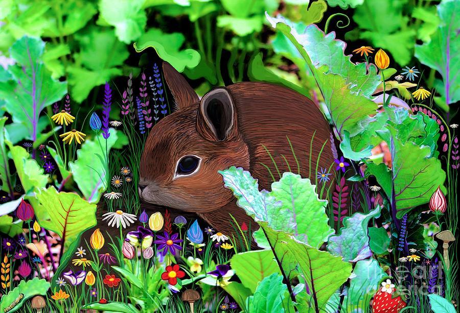 Garden Bunny And Flowers Digital Art