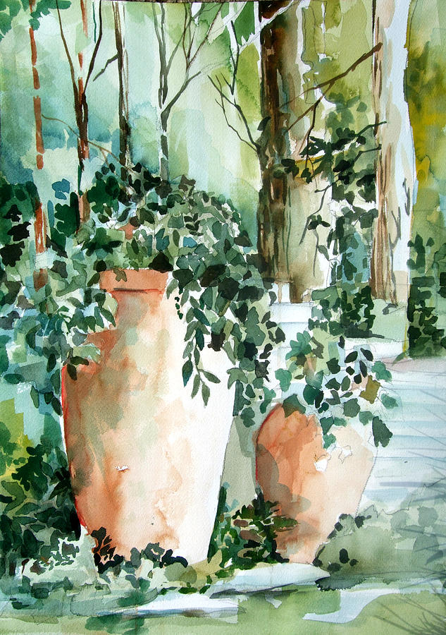 Watercolor Painting - Garden In Capri by Mindy Newman