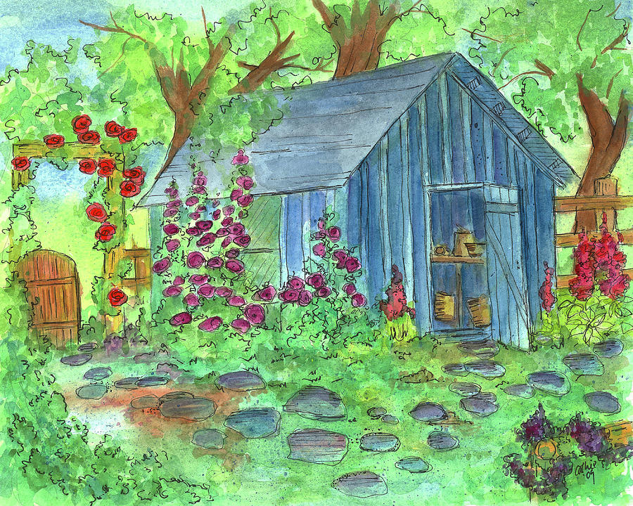 Potting Shed Watercolor Landscape Painting - Garden Potting Shed by Cathie Richardson