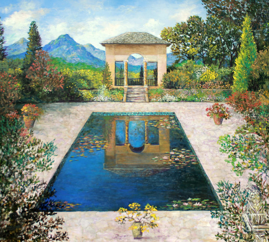 Garden reflection pool painting by lou ann bagnall for Garden reflecting pool