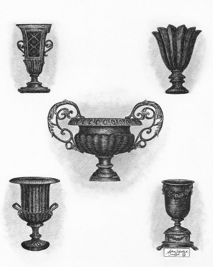 Black Drawing - Garden Urns by Adam Zebediah Joseph