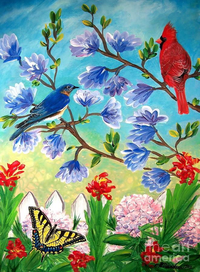 Garden View Birds And Butterfly Painting By Patricia L