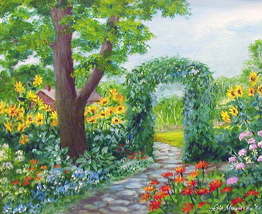 Paintings Of Cobblestone Paths : Garden with sunflowers painting by lois mountz