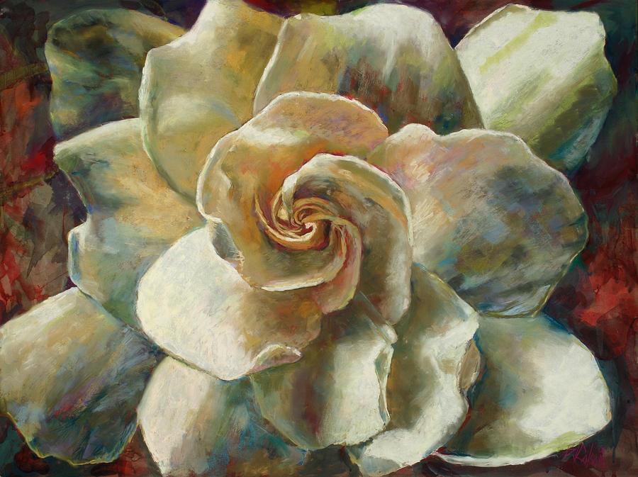 Billie J Colson Floral Art Painting - Gardenia by Billie Colson