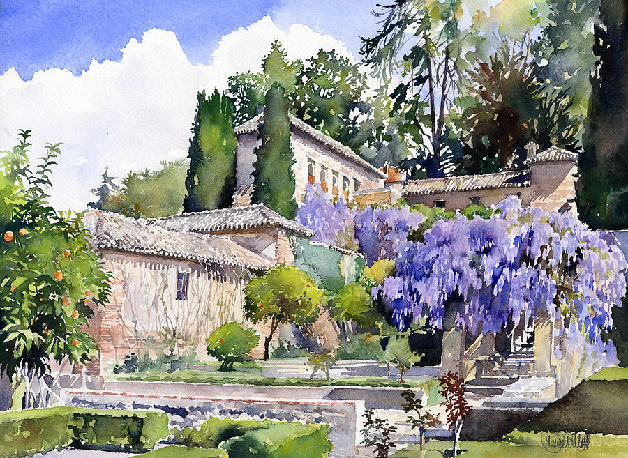 Gardens of the generalife painting by margaret merry for Generalife gardens