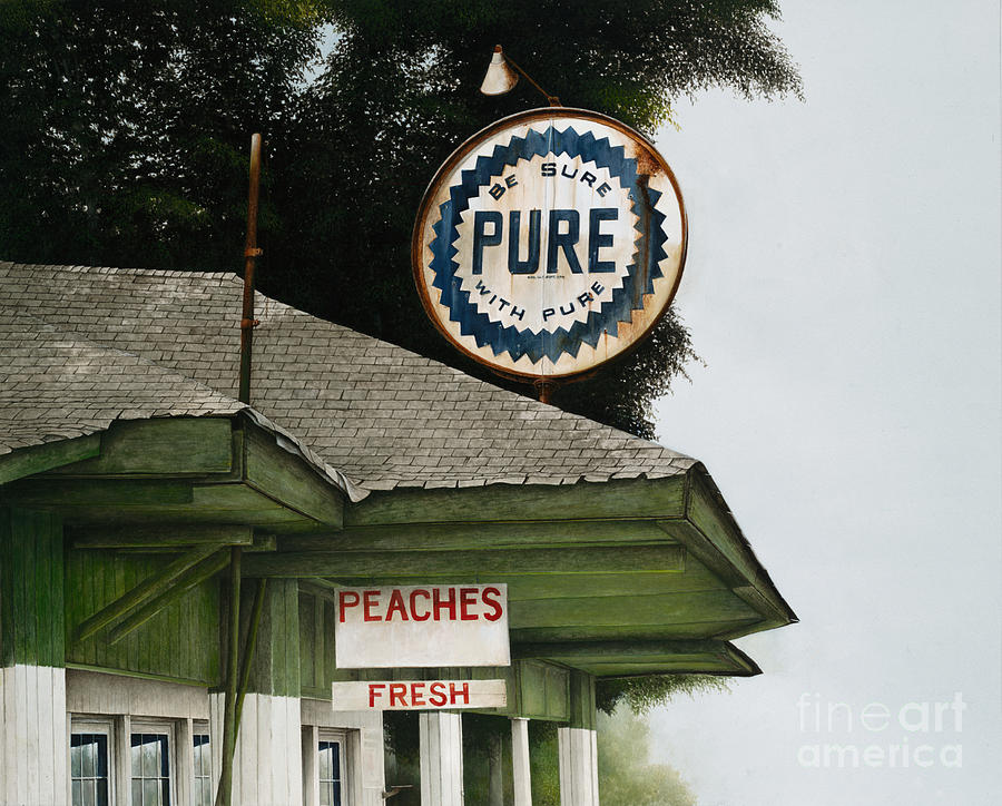 Gas Station Painting - Gardners Peaches by Mike England