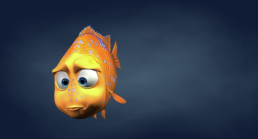 Horizontal Photograph - Garibaldi Fish In 3d Cartoon by BaloOm Studios