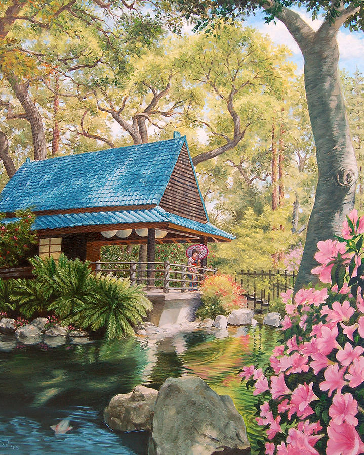 geisha in a japanese garden johanna girard