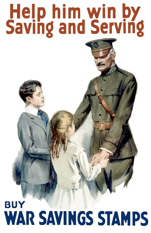 General Pershing Buy War Saving Stamps Painting