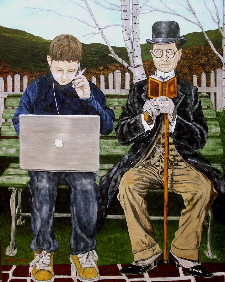 Pop Culture Painting - Generation Gap by Troy Rohn