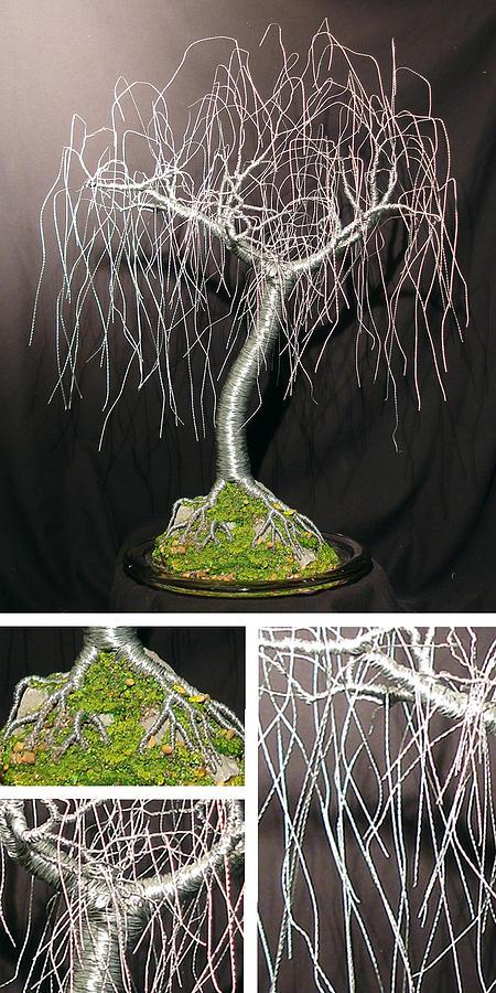 Sculpture Sculpture - Gentle Willow - Wire Tree Sculpture by Sal Villano